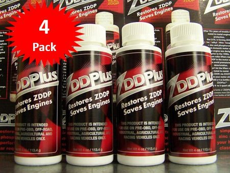 ZDDPPlus ZDDP Engine Oil Additive Zinc & Phosphorus 4 Bottle Pkg by ZDDPlus