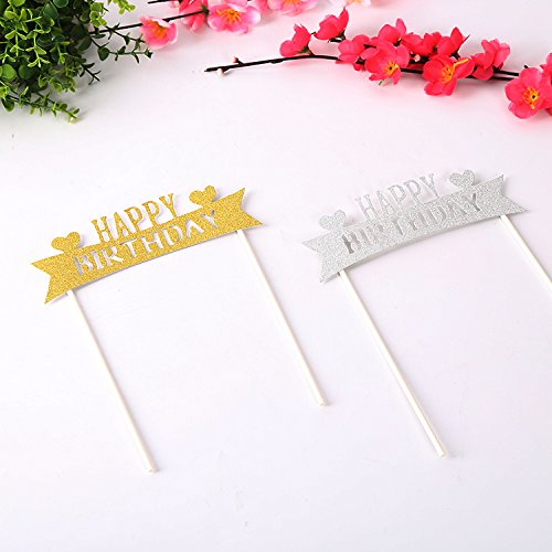 8pcs Cupcake Topper Gold Glitter heart Happy Birthday Cupcake Toppers Wedding Bamboo Fruit Cocktail Forks Party Finger Food Wedding Cupcake Toppers, Bridal Shower Valentine's Day Cupcake Toppers