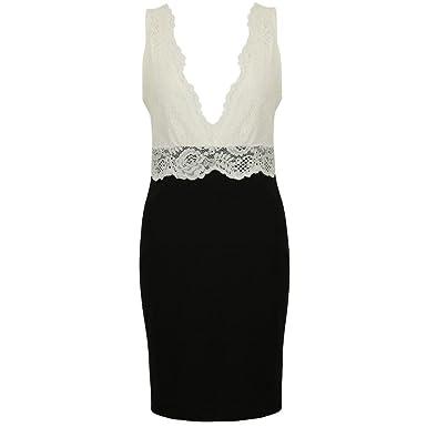 2355da7a952 Ex Lipsy Black White Laced Plunge Bodycon Party Mini Dress Size 6 8 10 12  14 16  Amazon.co.uk  Clothing