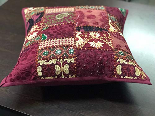 textile treasure Indian Handmade Bohemian Patchwork Couch Boho Chic Decorative Home Decor Shame Chic Pillow Throw Pillow -