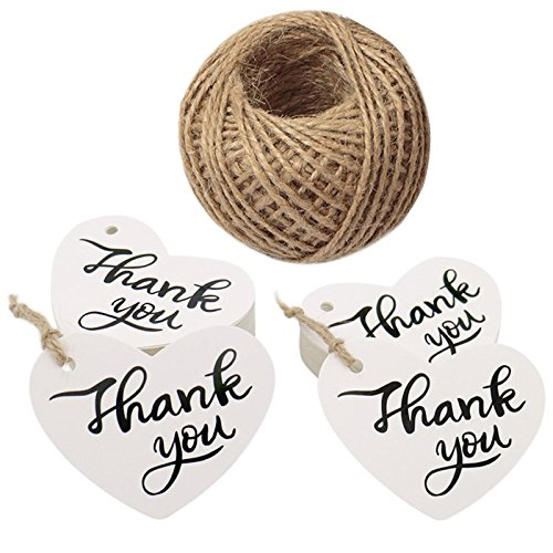 (Original Design Thank You Tags,100PCS Favor Tags with String,Paper Gift Tags,Heart Shape Tags for Wedding,Baby Shower Party,Thanksgiving (White))