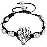 Miweel Diamond Handmade Wolf Head Adjustable Braided Bracelet