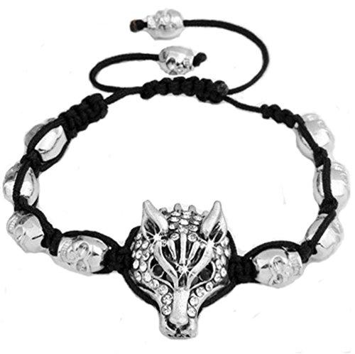 Gangsta Zombie Costumes (Miweel Diamond Handmade Wolf Head Adjustable Braided Bracelet)