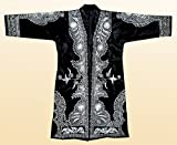 STUNNING UZBEK SILVER SILK EMBROIDERED ROBE CHAPAN FROM BUKHARA A7775