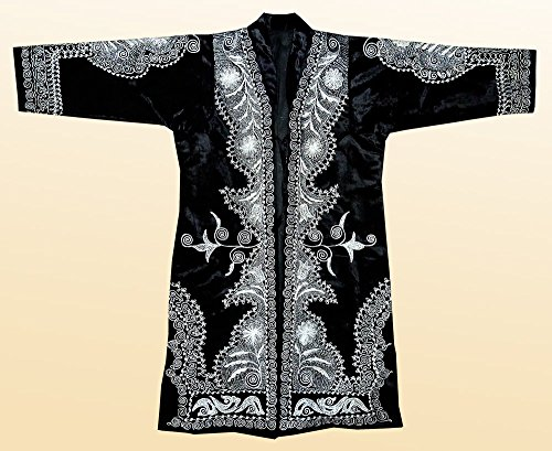 STUNNING UZBEK SILVER SILK EMBROIDERED ROBE CHAPAN FROM BUKHARA A7775 by East treasures
