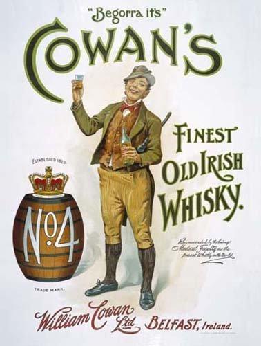De Cowan Irlandés Whisky Bebidas barril. Antigua caballero con botella y vidrio Mejor, vintage