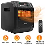 LIFE SMART 6 Element Infrared Space Heater Digital with Remote & Timer Adjustable Thermostat 12 Hour Timer Function 3 Modes with Tip-Over & Overheat Protection 1500W