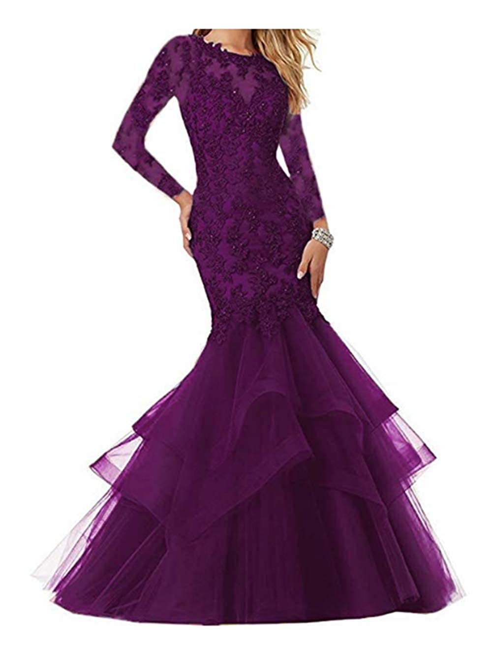 Grape FWVR Women's Mermaid Appliques Prom Dresses Long Sleeves Evening Wedding Party Gowns