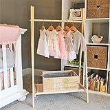 Clothing Rack, Kids Room Decor, Nursery Organization, Kids Clothes Storage, FOLDS UP, 48x24 inch Tall Clothes Rack with Fabric Storage Shelf -  Bundle & Pine