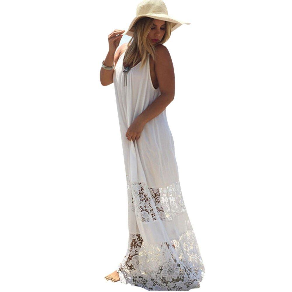 FRAUIT Maxi Strandkleid Damen Spitze Stickerei Lange Sommerkleid Abendparty Freizeit Elegant Cocktailkleid Weißes Garn Kleider