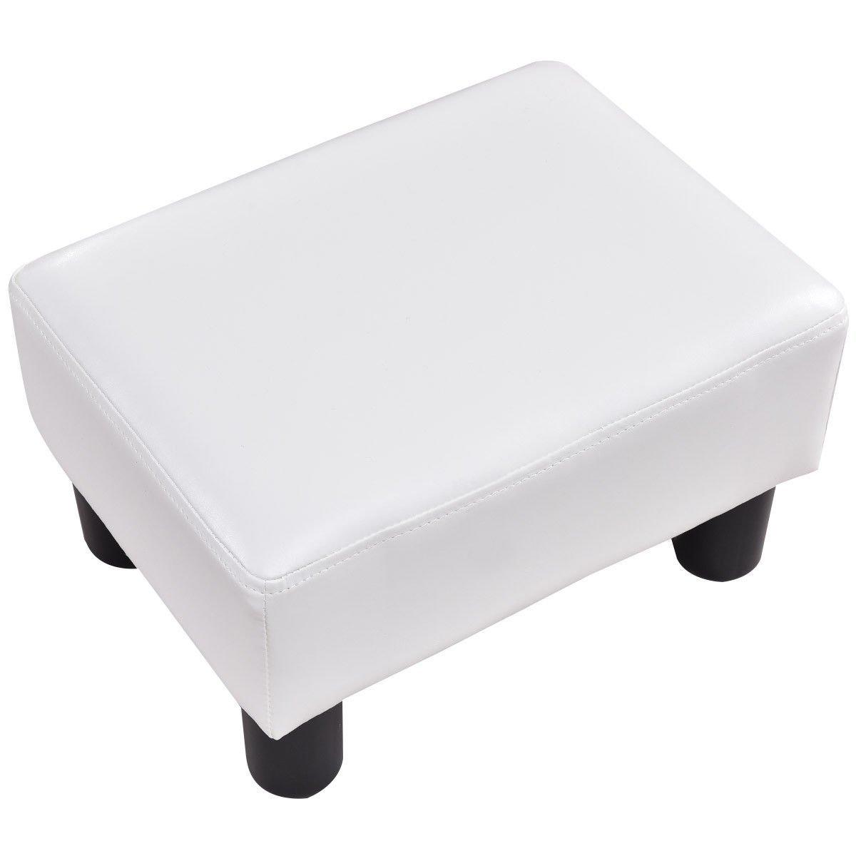 Giantex PU Leather Footstool Small Ottoman Rectangular Seat Stool with Plastic Wood Legs, White