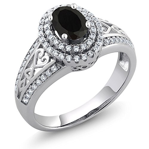 Black Onyx Women's Ring 1.25 cttw Oval Gemstone Birthstone Available 5,6,7,8,9 (Size 6) ()