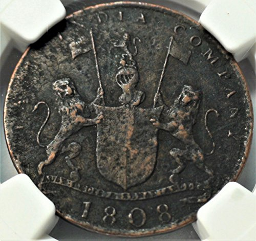 1808 UK British East India Company Shipwreck Antique Coin Coins 10 Cash Genuine NGC