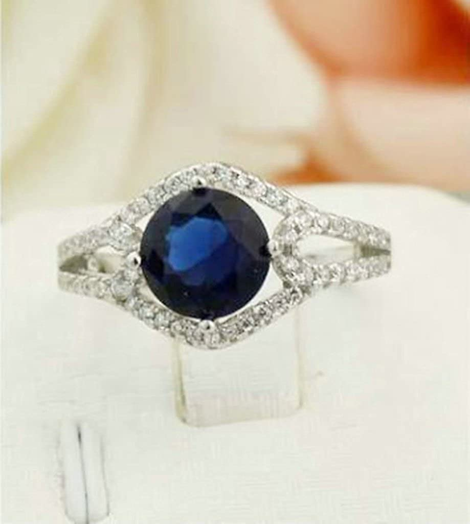 Daesar Sterling Silver Rings Wedding Bands for Women Hollow Round Silver Blue