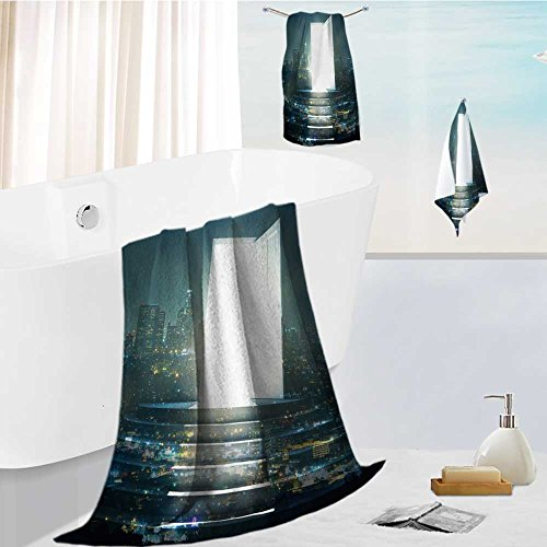 Jiahonghome Cabana Beach Towel set open door with bright light and steps on illuminated night city background success concept double Comfortable and Extremely Absorbent