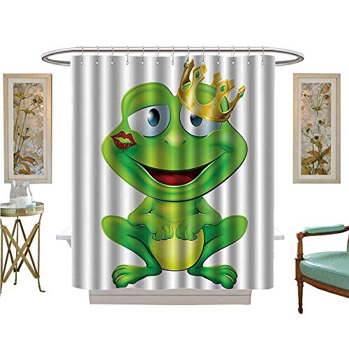 Leigh R. Avans Shower Curtains Digital Printing Cute Frog Prince Carto Character with Gold Crown and Lipstick Mark His Lips Fabric Bathroom Set with Hooks