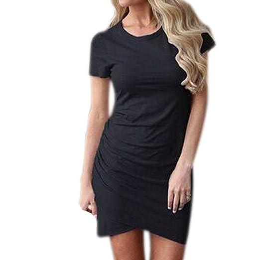 fa515059208b Paixpays Women's Casual Bodycon Dresses Short Sleeve Pencil Mini T Shirt  Dress Black1 S