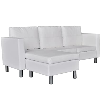 Daonanba Comfortable Couch L Shaped Artificial Leather Sectional Sofa White  3 Seater