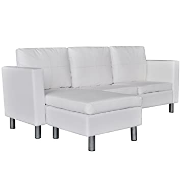 Amazon vidaXL White Artificial Leather Sectional Sofa