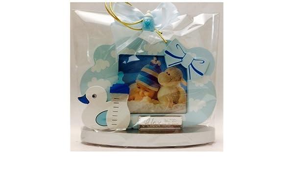 Marcos fotos para bautizo niño GRABADOS PERSONALIZADOS foto horizontal bebe (pack 10 unidades) portafotos regalos invitados: Amazon.es: Hogar