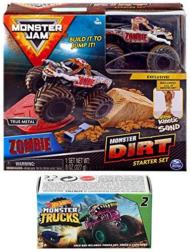 Hot Wheels Dirt Truck Zombie Crew Monster Jam Kit Action 2019 Jump Sand Bundled Blind Box Series Mini Monster Truck with Launcher (Monster Jam Madusa)