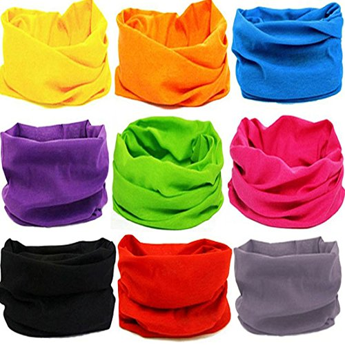 KALILY 9PCS Headband Bandana - Versatile 12-in-1 Solid Headwear -Multifunctional Seamless Neck Gaiter, Headwrap, Balaclava, Helmet Liner, Face Mask for Camping, Running, Cycling, Fishing etc