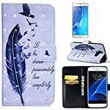 For Samsung Galaxy S7 Case with Card Slot,OYIME [Bird Feather and Saying] 3D Glitter Pattern Design Bookstyle Leather Wallet Holster Kickstand Function Full Body Protective Bumper Magnetic Closure Flip Cover with Wrist Lanyard and Screen Protector