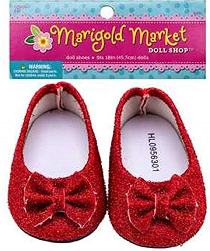 Red Glittered Doll Shoes for 18