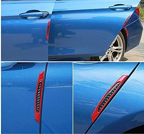 ZYTC 4pcs 3D Super White Reflective Stickers Black Real Carbon Fiber Strips Car Side Door Edge Bumper Anti-Scratch Protection Guards Trim Stickers Universal