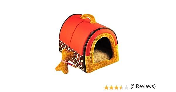 YOUJIA Cama felpa para perros y gatos - Casa para Mascotas Cama Cojin Casa de la Perrera Perrito (Rojo Puntos,S): Amazon.es: Hogar