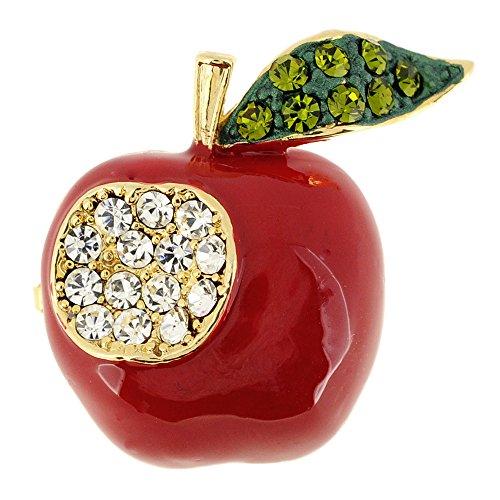 Fantasyard Red Teachers Apple Crystal Pin Brooch
