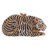 Fawziya Big Tiger Clutch Purse Bling Rhinestone Clutch Evening Bag-Big Gold