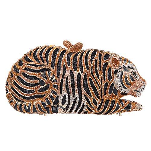 Tiger Clutch (Fawziya Big Tiger Clutch Purse Bling Rhinestone Clutch Evening Bag-Big Gold)