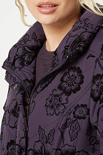 Mujer Larga Tortuga Morado Parka Cuello Floral Roman Abrigo Manga Originals Para wUzCqAq