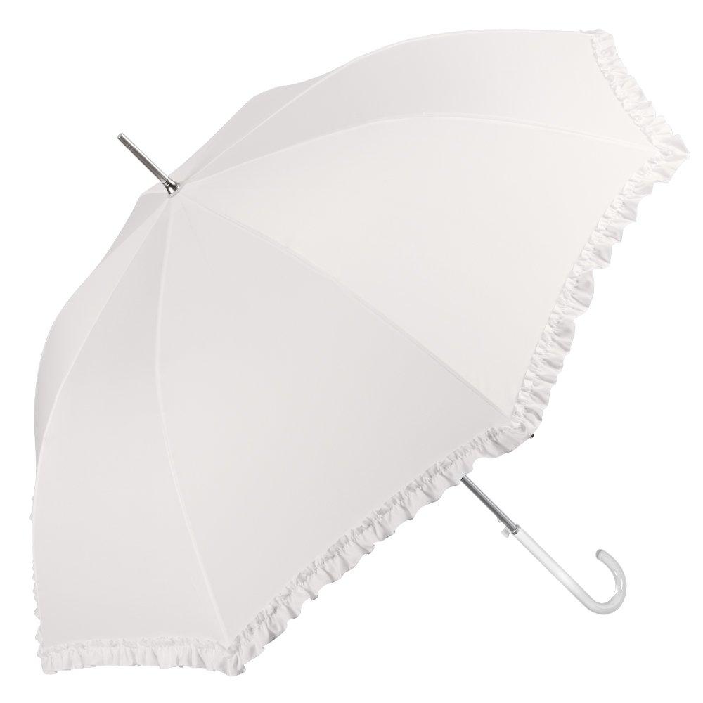 Perletti Elfenbeinweiß Brautschirm mit Rüschen. Damen-Stockschirm, Hochzeit Regenschirm perletti12035
