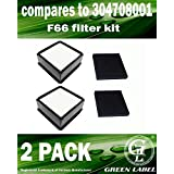 2 Pack For Dirt Devil F66 HEPA and Foam Filter Kit for Upright Vacuum Cleaners (Compares to 304708001). Genuine Green Label product.