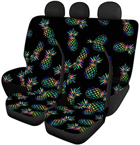 Babrukda Car Full Set Interior Accessiores for Women Men Color Pineapple Print Front Seats Covers and Rear Split Bench Protection Deco Easy to Install Universal Fit Black