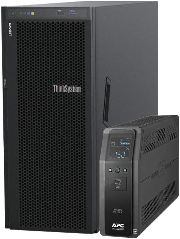 Lenovo ThinkSystem ST550 Tower Server Bundle with UPS Battery Backup, 2 x Intel Xeon Silver 4210, 128GB DDR4, 2TB SSD, 24TB HDD, RAID, Matrox G200 Graphics