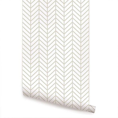 Herringbone Line Wallpaper - Beige - 2 ft x 9 ft - Single - by Simple Shapes ()