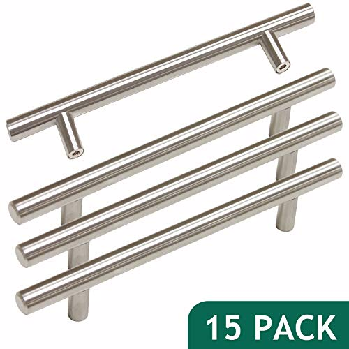 - Probrico Stainless Steel Modern Cabinet Drawer Handle Pulls Kitchen Cupboard T Bar Knobs and Pull Handles Brushed Nickel - 5 Inch Hole Centers - 15Pack