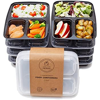 healthy packers 3 compartment reusable food prep containers with lids bento lunch. Black Bedroom Furniture Sets. Home Design Ideas