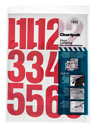 Chartpak Self-Adhesive Vinyl Numbers, 4 Inches High, Red, 23 per Pack (01194)