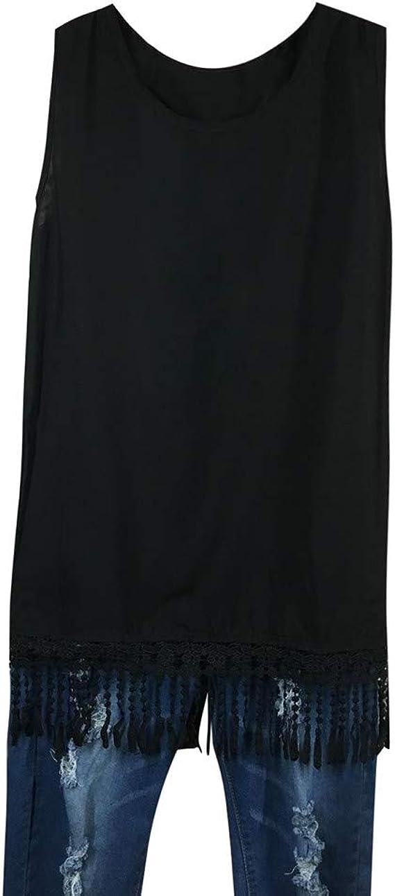 Luckycat Mujeres Camiseta de Tirantes, Gótica Sin Mangas diseño de Calaveras Tanque Superior corsé Disfraz de Tank Tops Chaleco Borla Lentejuelas Encaje T-Shirt: Amazon.es: Ropa y accesorios