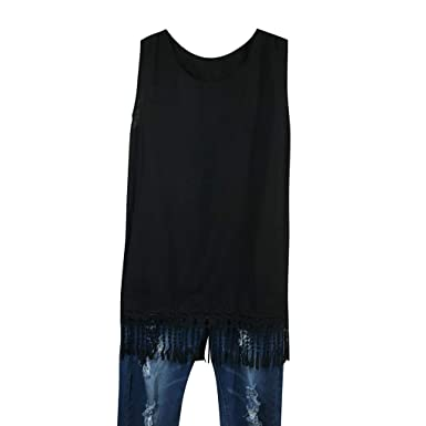 166ab9f11c4969 Inverlee Women Fashion Sleeveless Shirt Tassel Hem Casual Tank Vest Black