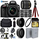 Nikon D3400 DSLR 24.2MP DX CMOS Camera AF-P 18-55mm VR Lens + LED Light kit + Wide Angle & Telephoto Lens + 12 inch Flexible Tripod + Camera Case - International Version