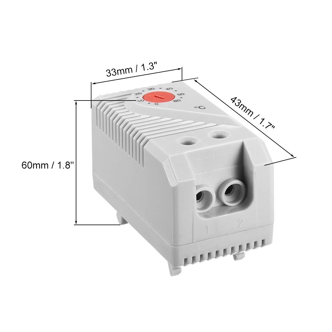 uxcell Mechanical Thermostat 0-60℃ Adjustable Compact N.C+N.O Temperature Controller Switch