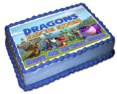 Dragons Rescue Riders personalized Cake Toppers Icing Sugar Paper 1/4 8.5 x 11.5 Inches Sheet Edible Frosting Photo Birthday Cake Topper (Best Quality Printing)