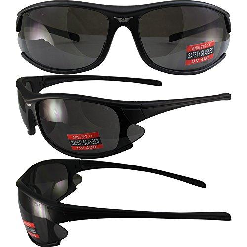 Global Vision Sunsation 1 Motorcycle Safety Sunglasses Matte Black Frames Smoke Lens ANSI - Sunsation Sunglass