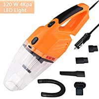 Car Vacuum Cleaner with LED Light,Gedkoa powerfull 12V 120W Wet&Dry Handheld Auto Dust Buster,Vacuum Removable & Washable HEPA Filter with 14.6FT long Power Cord