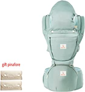 OcamaBaby Carrier with Hip Seat for All Seasons Adjustable Breathable Waistband + 1 Pair Pinafore